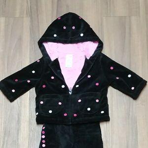 Super Soft Fleece Jacket Pants set Polka Dot